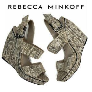 Rebecca minkoff snake skin leather wedge sandals